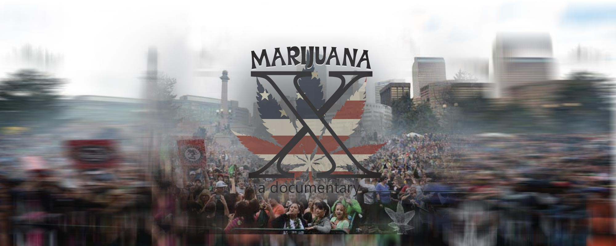 Marijuana X with background of crowd of people